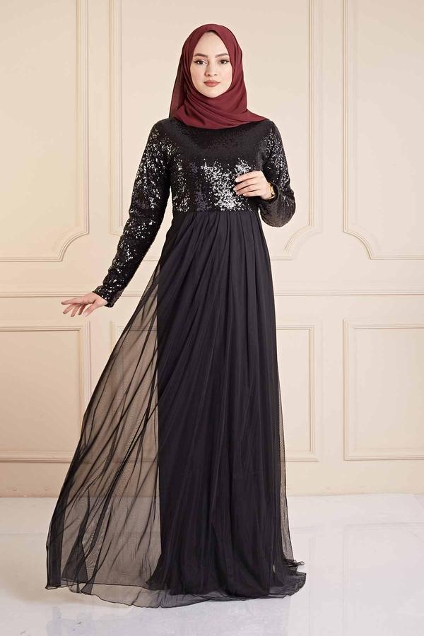 Eteği Tüllü Pul Payet Elbise 190E4521 Siyah