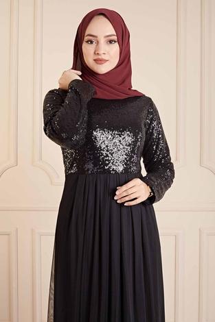 - Eteği Tüllü Pul Payet Elbise 190E4521 Siyah (1)