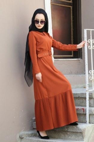 - Etek Ucu Pilise Detaylı Elbise 4111-02