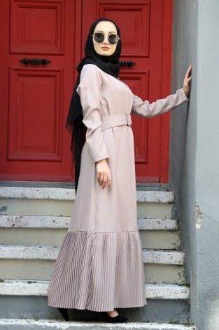 - Etek Ucu Pilise Detaylı Elbise 4111-03
