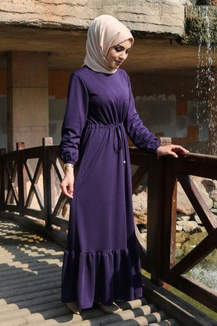 Etekleri Fırfırlı Beli Bağcıklı Elbise 2025-10 Mor - Thumbnail