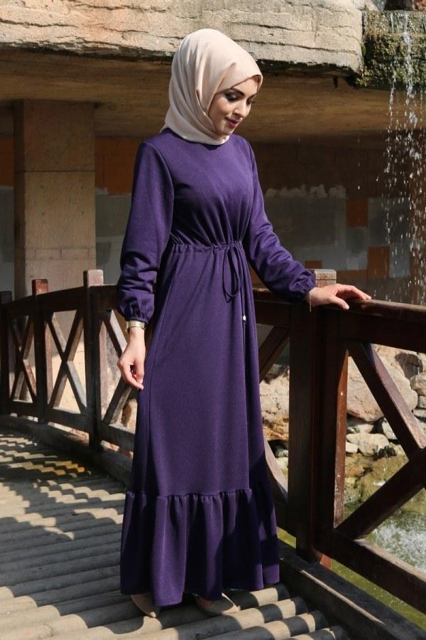 Etekleri Fırfırlı Beli Bağcıklı Elbise 2025-10 Mor