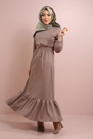 - Etekleri Fırfırlı Beli Bağcıklı Elbise 2025-13