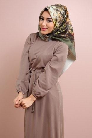 Etekleri Fırfırlı Beli Bağcıklı Elbise 2025-13 (1)