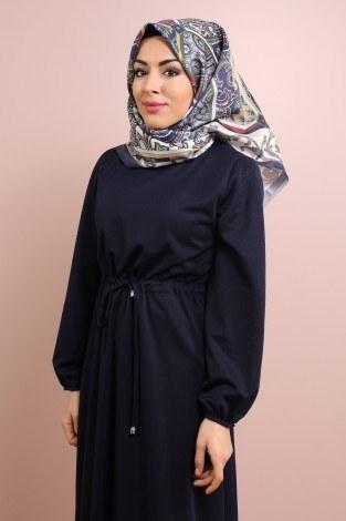Etekleri Fırfırlı Beli Bağcıklı Elbise 2025-14 Lacivert (1)