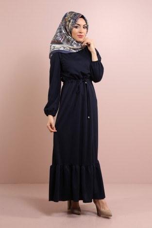 - Etekleri Fırfırlı Beli Bağcıklı Elbise 2025-14 Lacivert