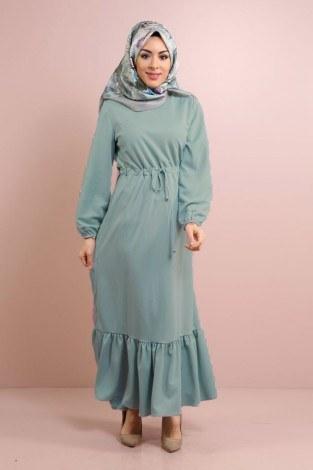 - Etekleri Fırfırlı Beli Bağcıklı Elbise 2025-17
