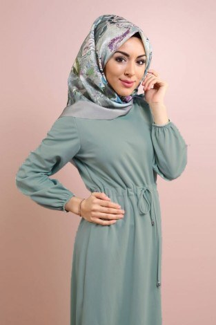 Etekleri Fırfırlı Beli Bağcıklı Elbise 2025-17 (1)