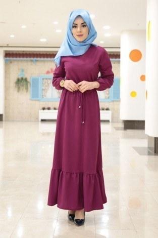 Etekleri Fırfırlı Beli Bağcıklı Elbise 2025-2 Fuşya (1)