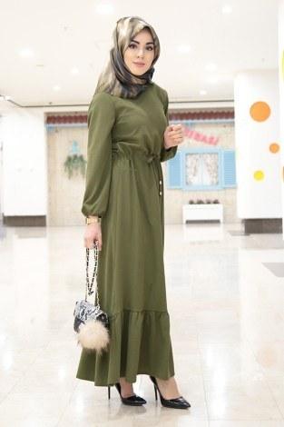 - Etekleri Fırfırlı Beli Bağcıklı Elbise 2025-3 Haki