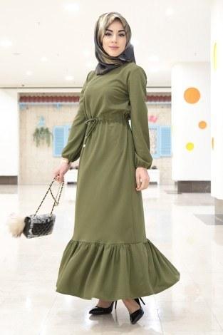 Etekleri Fırfırlı Beli Bağcıklı Elbise 2025-3 Haki (1)