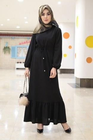 - Etekleri Fırfırlı Beli Bağcıklı Elbise 2025-5 Siyah
