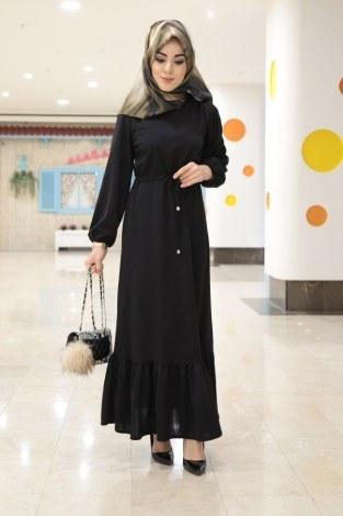 Etekleri Fırfırlı Beli Bağcıklı Elbise 2025-5 Siyah (1)