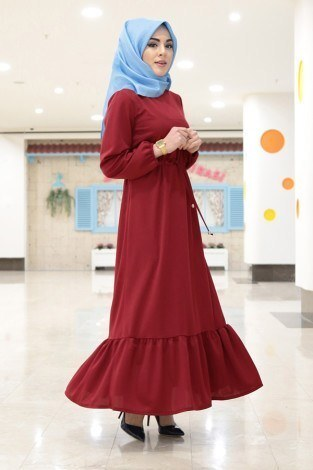 Etekleri Fırfırlı Beli Bağcıklı Elbise 2025-8 (1)