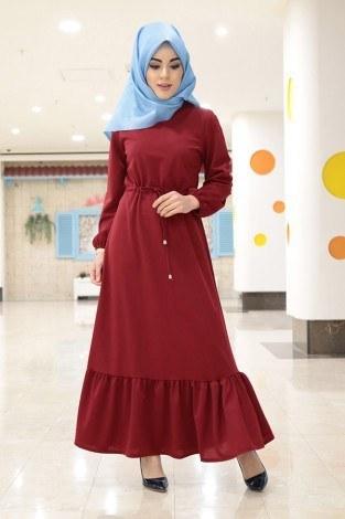 - Etekleri Fırfırlı Beli Bağcıklı Elbise 2025-8
