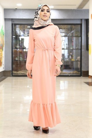 - Etekleri Fırfırlı Beli Bağcıklı Elbise 2025-9 Yavruağzı