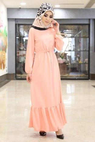 Etekleri Fırfırlı Beli Bağcıklı Elbise 2025-9 Yavruağzı (1)