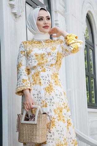 - Etnik Desen Belden Büzgülü Elbise 9824-2 Sarı (1)