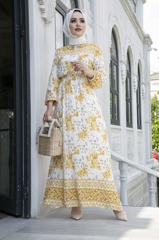 - Etnik Desen Belden Büzgülü Elbise 9824-2 Sarı