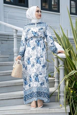 - Etnik Desen Belden Büzgülü Elbise 9824-4 Mavi