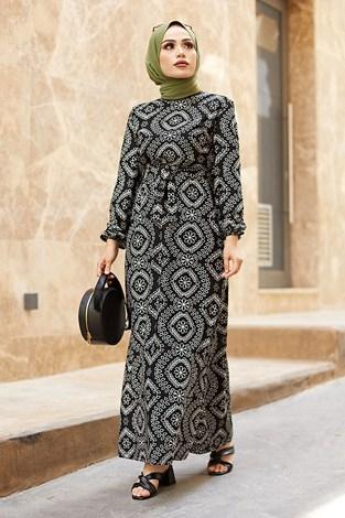 - Etnik Desen Büzgülü Elbise 5589-6 Siyah