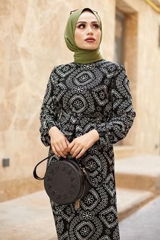 - Etnik Desen Büzgülü Elbise 5589-6 Siyah (1)