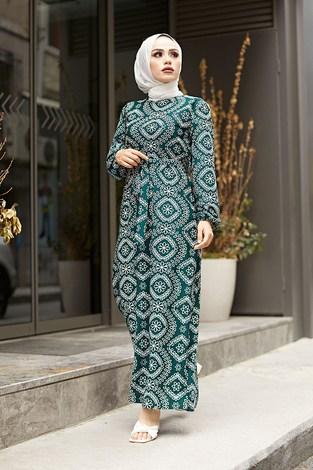 - Etnik Desen Büzgülü Elbise 5589-7 Yeşil