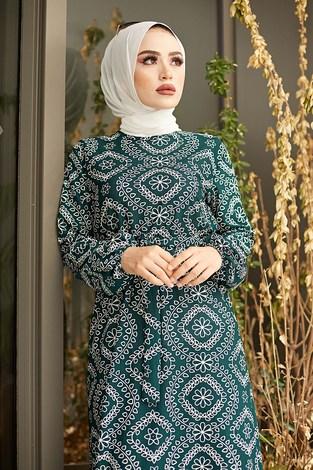 - Etnik Desen Büzgülü Elbise 5589-7 Yeşil (1)