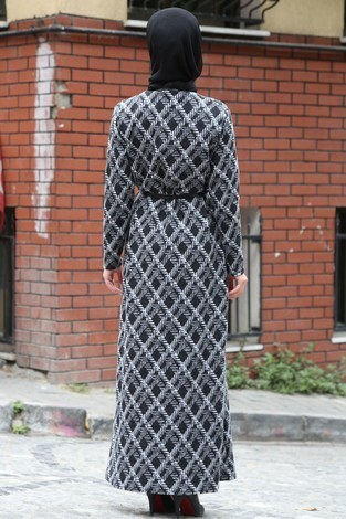 Etnik Desen Elbise 8822-21 - Thumbnail