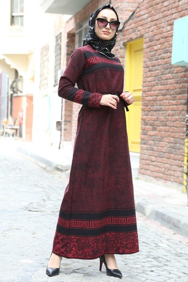 Etnik Desen Elbise 8841-03 bordo