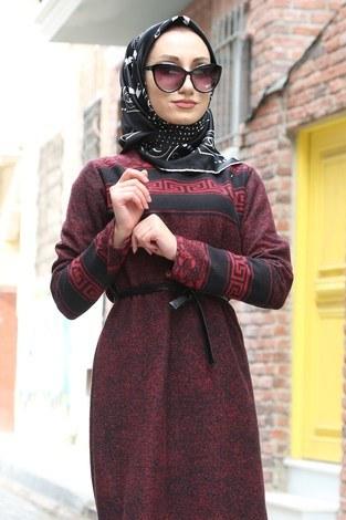 Etnik Desen Elbise 8841-03 bordo - Thumbnail