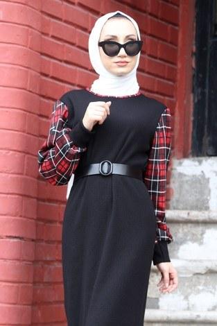 - Ekose Detaylı Elbise NV6693-01 Siyah (1)