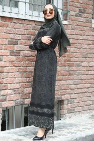 Etnik Desen Elbise 8841-04 haki - Thumbnail