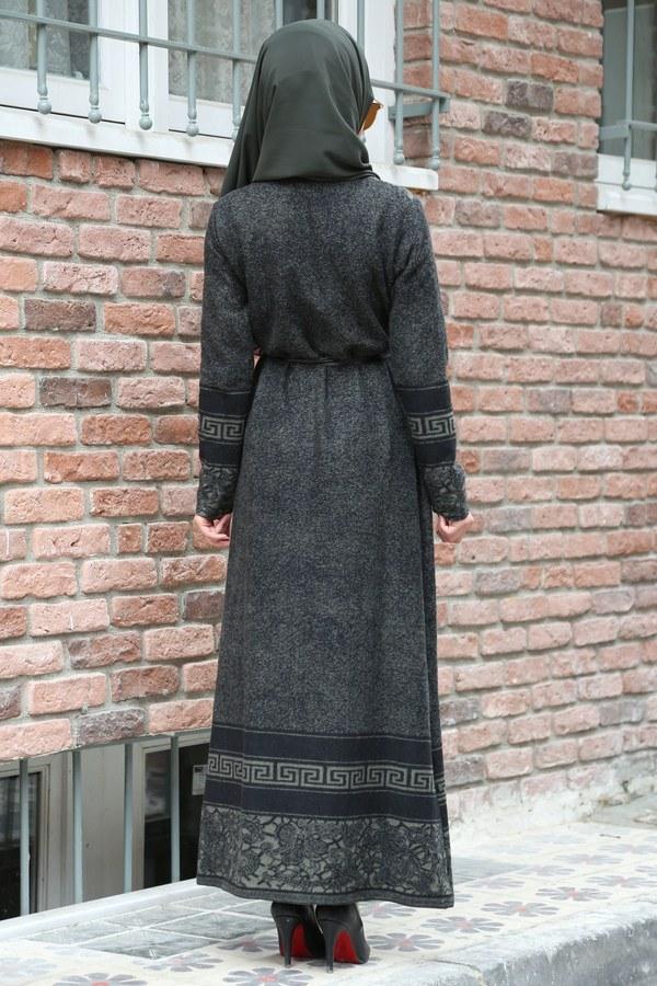 Etnik Desen Elbise 8841-04 haki