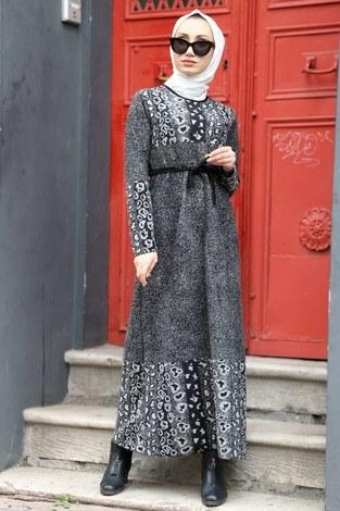 - Etnik Desen Elbise 8841-12 gri