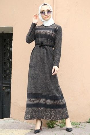 - Etnik Desen Elbise 8841-11 bej