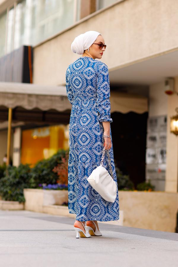 Etnik Desenli Elbise 190E-07465 İndigo