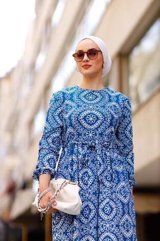Etnik Desenli Elbise 190E-07465 İndigo - Thumbnail