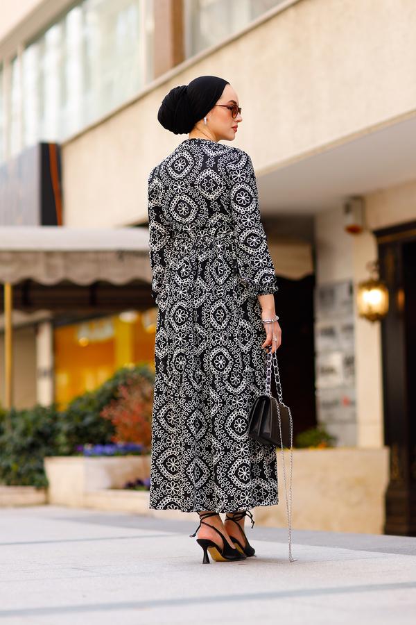 Etnik Desenli Elbise 190E-07465 Siyah