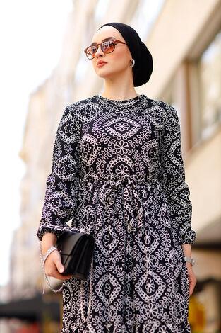 Etnik Desenli Elbise 190E-07465 Siyah - Thumbnail