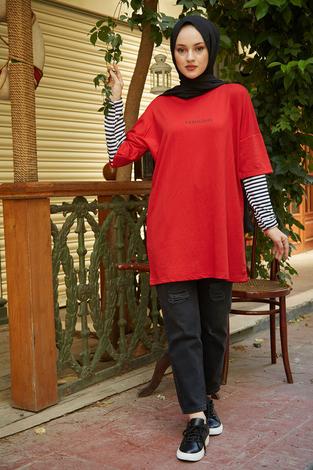 - AVEN Fabulous Sweat Tunik 9641-2 Kırmızı