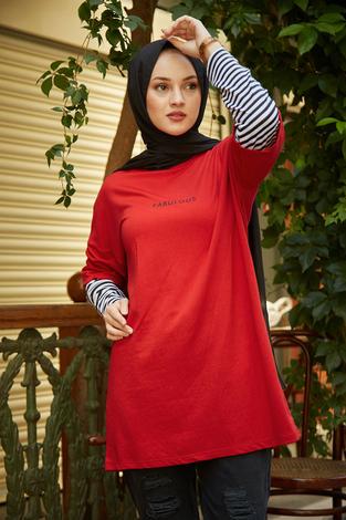 - AVEN Fabulous Sweat Tunik 9641-2 Kırmızı (1)