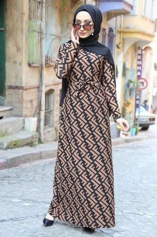 - Fendi Desenli Elbise 8508-361