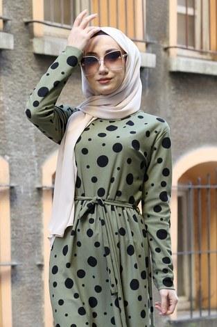 - Puantiye Desenli Elbise 8508-363 (1)