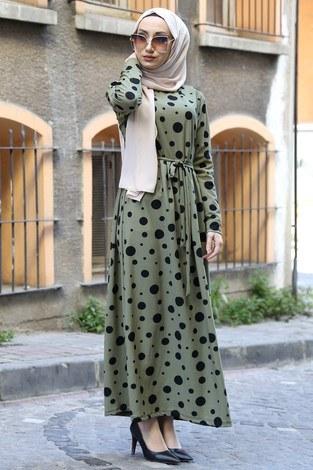 - Puantiye Desenli Elbise 8508-363