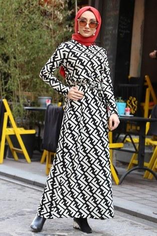 - Fendi Desenli Elbise 8508-362
