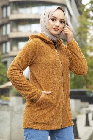 Fermuar Detaylı Tesettür Polar Hırka Camel - Thumbnail