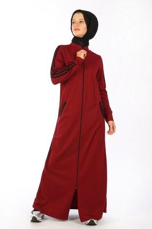 Fermuarlı Spor Ferace Elbise 1819-03 - Thumbnail