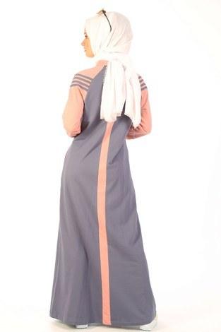 Fermuarlı Elbise 1819-13 - Thumbnail