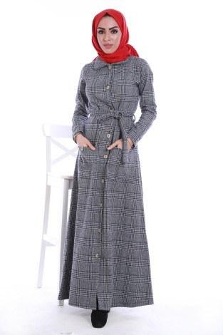 - Boydan Tahta Düğmeli Elbise 6615-01